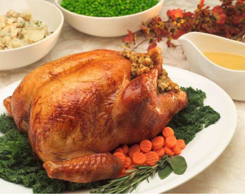 free-range roast turkey on a table