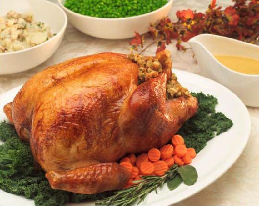 free-range roast turkey on a table