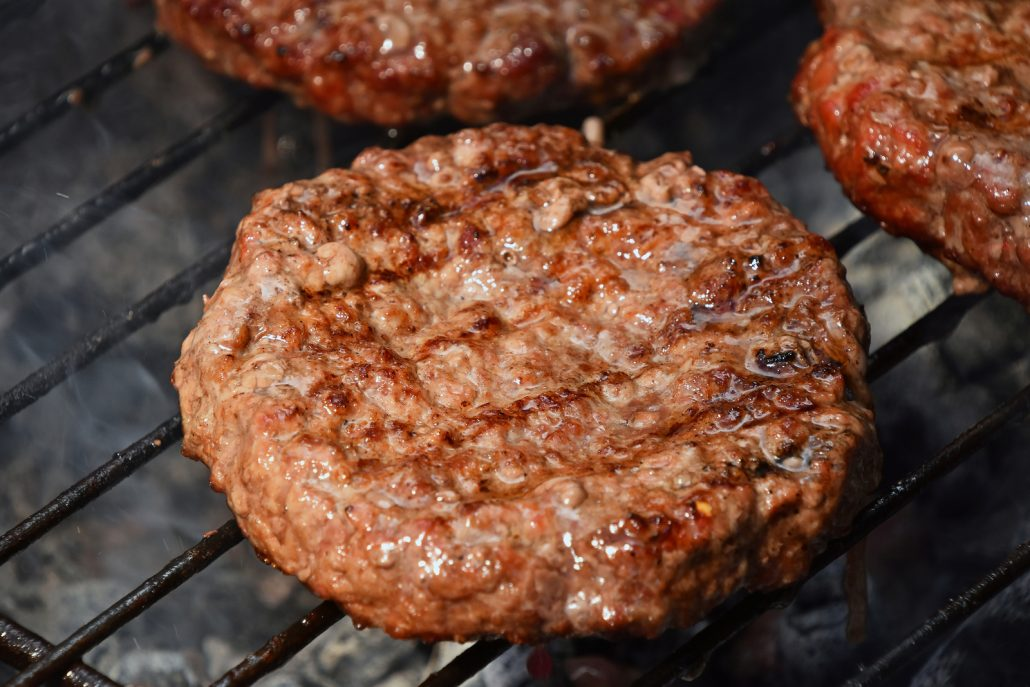 grilled burgers with grass finished beef
